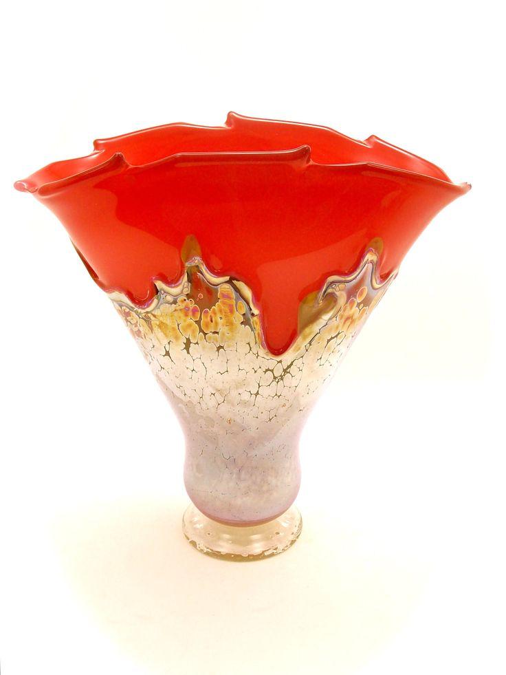 Red Vase with Iris Overlay by Dierk Van Keppel (Art Glass Vase) | Artful Home