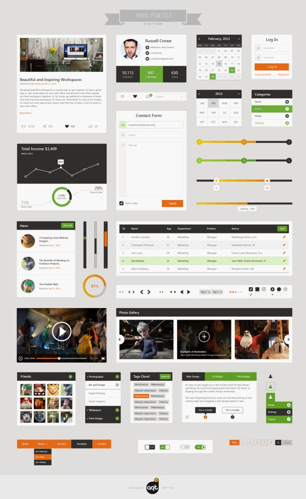 Flat Web & UI Kit - nice simple flat graphic elements