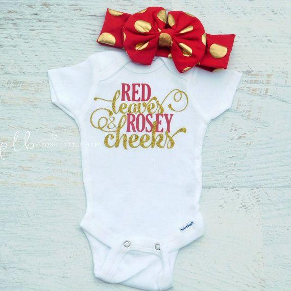 Baby Girl Bodysuit/Red Leaves & Rosey Cheeks/Bodysuit for Baby Girl/Girls Shirt/Girls Clothing/Baby Girls Clothing/Bodysuit/ Baby Girls Set