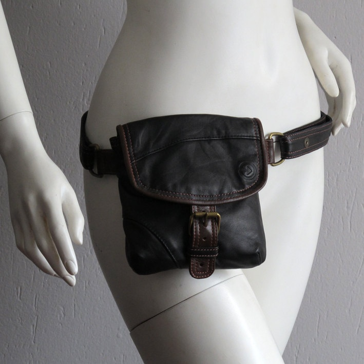 Reused, recycled leather black hip bag with brown details strap closure on www.vadenuevocr.etsy.com