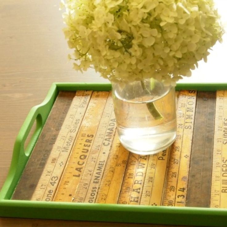 Chalk Paint and Yard Stick Serving Tray Makeover - Becoming Martha