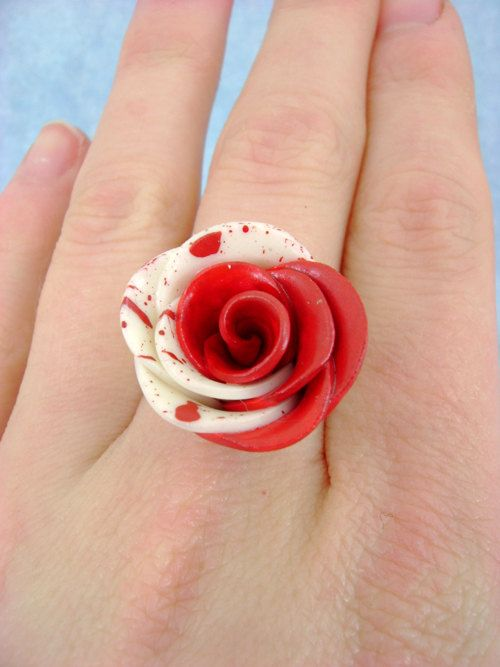 Paint The White Roses Red - Alice In Wonderland - Adjustable Ring. $25.00, via Etsy.