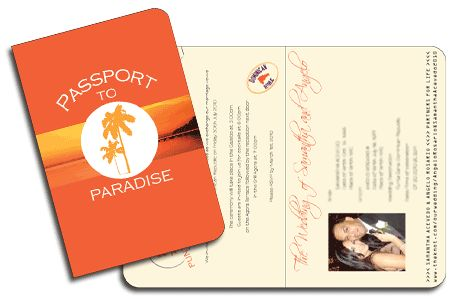 Sunset Wedding Invitation in Passport to Paradise style. Colours can also be changed to suit wedding theme by www.DestinationStationery.com