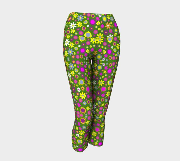 "Yoga+Capris+""Green+Floral+Pattern+Yoga+Capris""+by+Big+Baby+Sweets+Clothing"