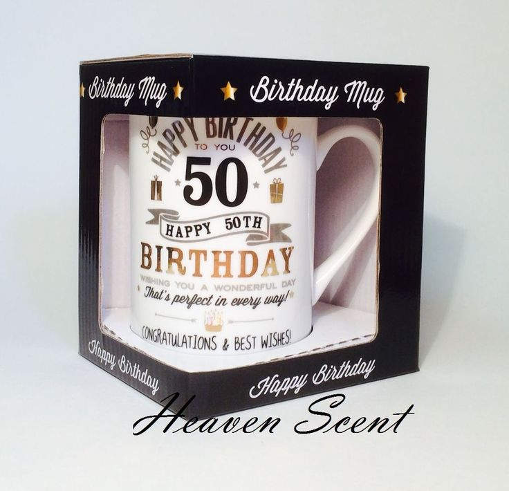 Happy 50th Birthday Gift Ideas For Him, Men Gift Boxed Mug