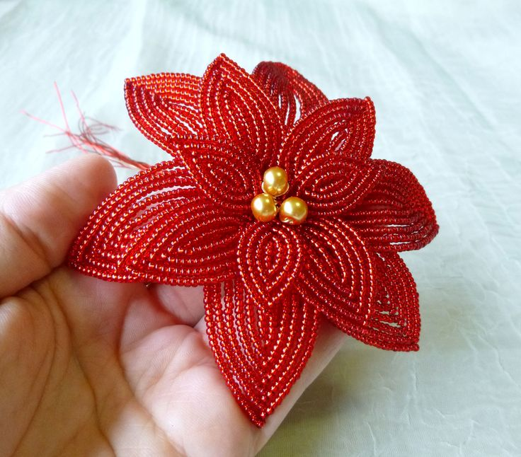french beaded poinsettia - Google Search