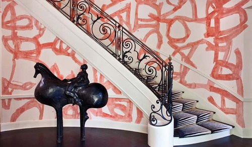 Stunning hand painted abstract mural...what a stunning stair lobby.