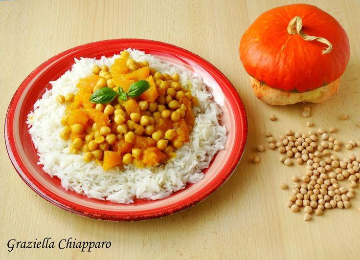 Curry+vegetariano+con+zucca+e+ceci+|+Ricetta+leggera