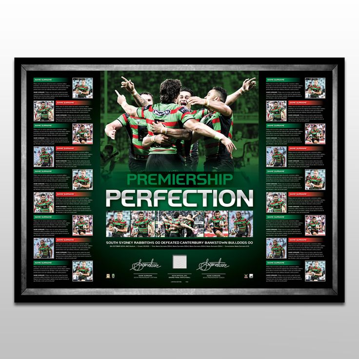 2014 Rabbitohs Dual Signed Premiers Lithograph