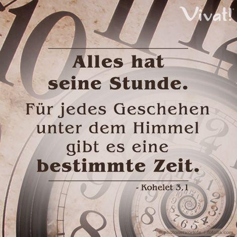 #Alles hat seine #Stunde. Für jedes Geschehen unter dem #Himmel gibt es eine bestimmte #Zeit.