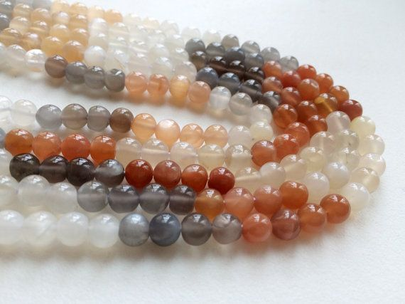 WHOLESALE 5 Strands Multi Moonstone Plain Round by gemsforjewels