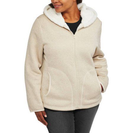 Faded Glory Women's Plus-Size Sweater Fleece Hoodie with Cozy Sherpa Lining, Size: 2XL, Beige