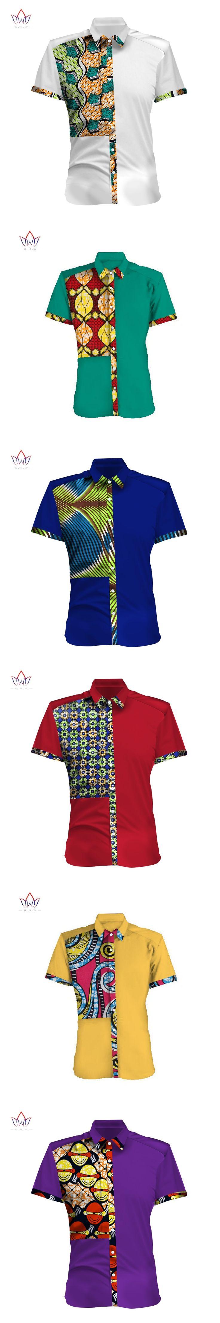 Spring New Design Mens African ClothingShort Sleeve Slim Fit Mens Dashiki African Print Casual Style Men Shirts 6XL BRW WYN298