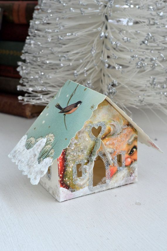Vintage Christmas Card Glitter House Illuminating Ornament One Of A Kind Putz Inspired.    love this!❤️