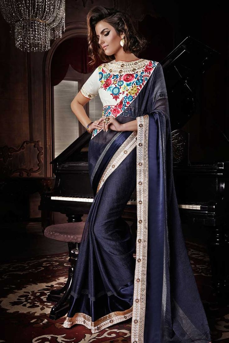 Blue Satin Viscose Saree with Silk Blouse, Sari with Boat Neck Blouse, Saree with Quarter Sleeve