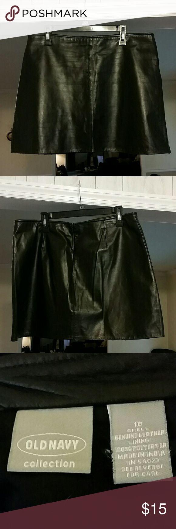 Old Navy Black Genuine Leather Mini Skirt Black Old Navy Mini Skirt Old Navy Skirts Mini