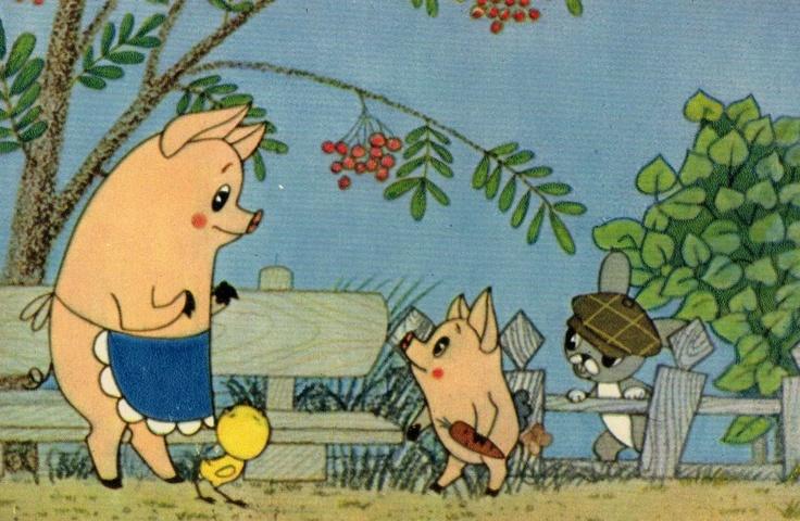 pigs on the farm - vintage illustration