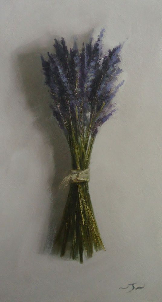 Original Oil Painting - Bunched Lavender - Contemporary Still Life Art - Nelson