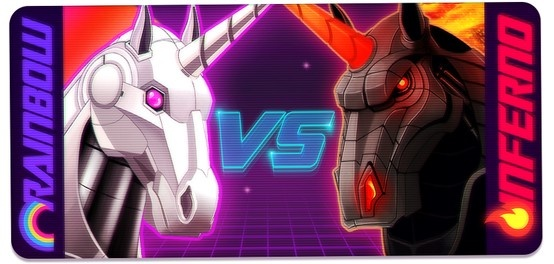 The eternal Robot Unicorn battle is raging and it is time, friends, to declare your loyalty. Will you be a part of the wondrous Team Rainbow, or the insidious Team Inferno?