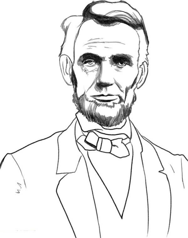 A sketch drawing of abraham lincoln coloring page for Sketch it online