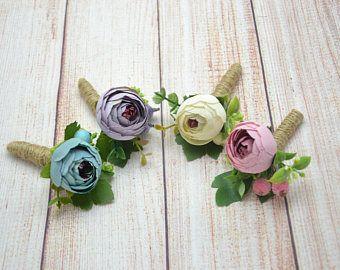 Groomsmen Buttonhole Flower Boutonniere Ranunculus boutonniere Wedding boutonniere Rustic boutonniere Woodland boutonniere Rustic wedding