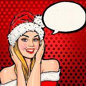 Menina com chapéu de Papai Noel com discurso de bolha no fundo vermelho.