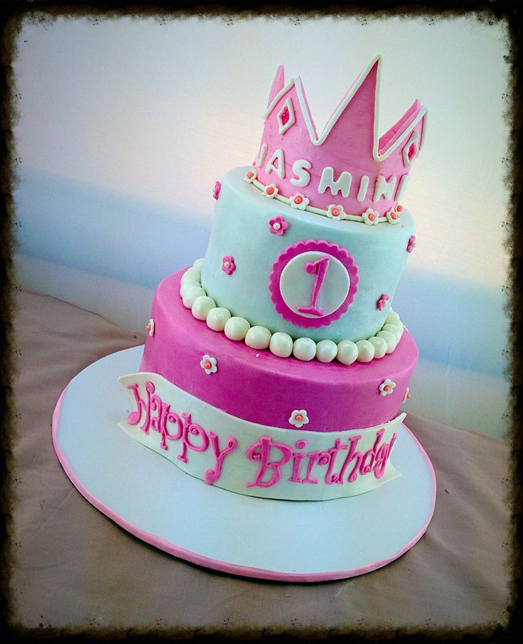 Cake Decoration Crown : 1st birthday pink & white princess cake with pink fondant ...