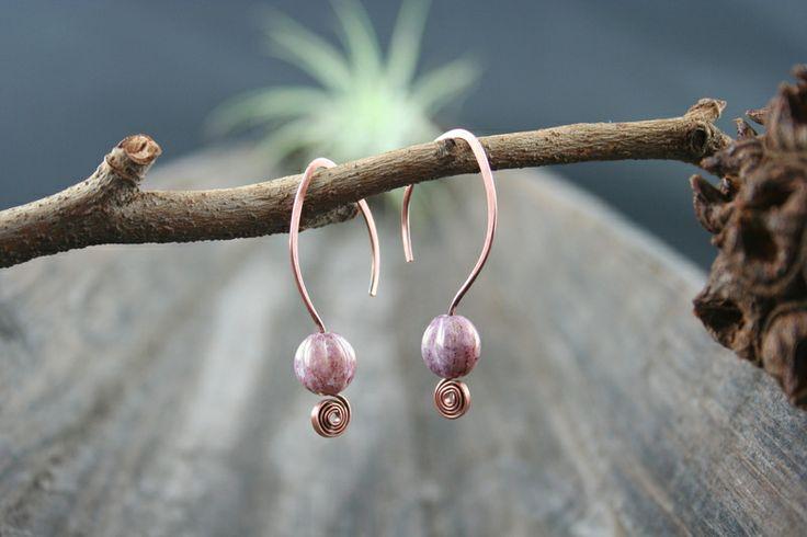 "Jasmine"", Kupferohrringe,creme/pink von ~ EgoDeco~ (since 2012) auf DaWanda.com"
