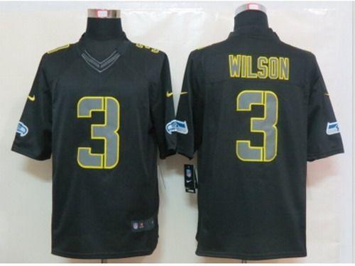 Nike NFL Seattle Seahawks #3 Russell Wilson Black Jerseys(Impact Limited)