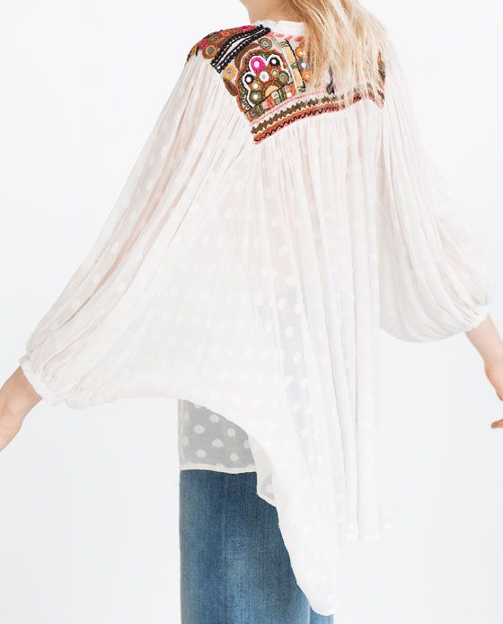 EMBROIDERED BLOUSE from Zara