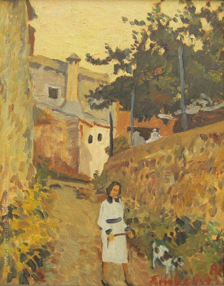 """Edgardo Ribeiro """"Paisaje con figura blanca"""" Óleo sobre tela  41 x 33 cm. Año 1982  Firmado y fechado abajo a la derecha  http://www.portondesanpedro.com/ver-producto.php?id=12763"""