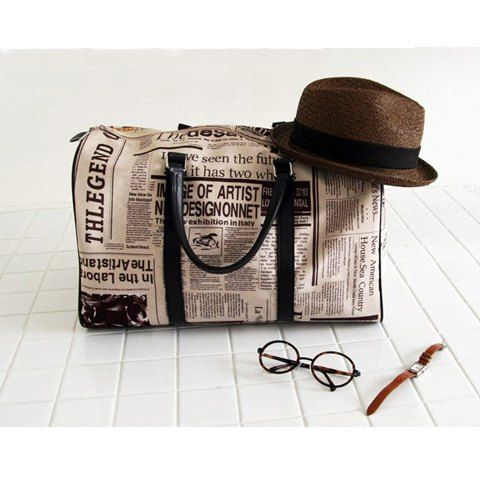Casual Zipper Design and Newspaper Printing Handbag/Slanting Bag For Female, AS THE PICTURE in Tote Bags | DressLily.com