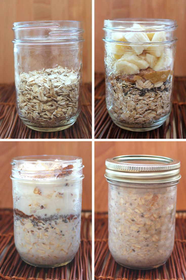 Vegan Peanut Butter and Banana Overnight Oats; Shake