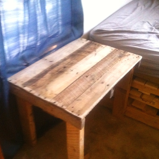 Recycled Pallet Bedside Table Basement Makeover