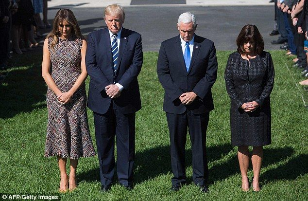 Gathered: President Donald Trump, First Lady Melania Trump, as well as Vice-President Mike Pence and his wife Karen Pence also participated in the moment of silence