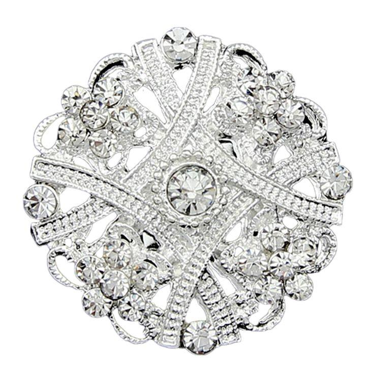 Mode-sieraden Kleine Zilveren Broche Boeket broches Rhinestone reversspeldjes up Kristal brocheS voor vrouwen bruiloft