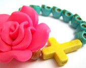 Dia De Los Muertos Bracelet, Day of the Dead Stretch Bracelet, Turquoise Stretch Bracelet, Yellow Cross Jewelry, Pink & Turquoise, Pink Rose