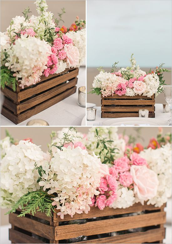 I could use this idea for the many storage boxes I need in the kitchen, bath, and the Imagination Room, as well as the garden. floral centerpiece | diy wood box | bouquet recipe | diy wedding | reception | #weddingchicks
