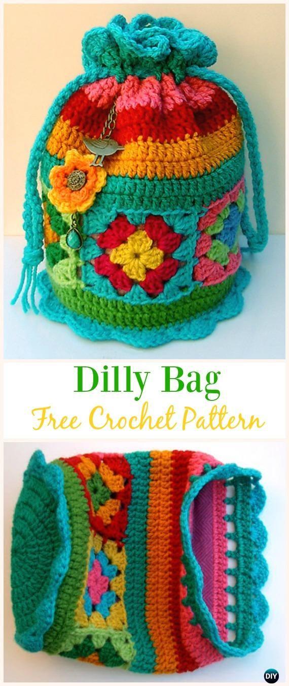 Dilly Bag Free Crochet Pattern -#Crochet Drawstring #Bags Free Patterns