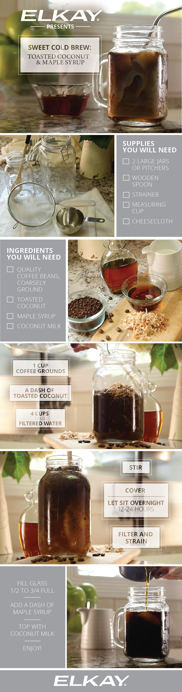 How to make delicious toasted coconut and maple syrup cold brew coffee.   This sweet concoction is rich with coconut and maple flavors and has an easy step by step recipe. You'll need coarsely ground coffee beans, toasted coconut, coconut milk or a cream of choice and a dash of maple syrup. Enjoy!