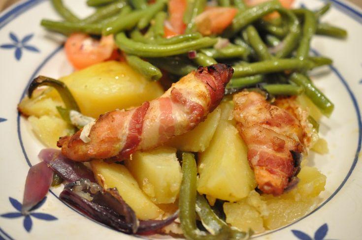 peberfrugt kyllingeinderfilet kyllingefilet kylling på kartoffelbund kylling i baconsvøb ...