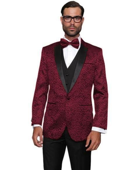 ec362f3d Alberto Nardoni Brand Fashion Mens Burgundy ~ Wine ~ Maroon Color Floral  Sateen Unique Paisley Sport Coat Sequin Shiny Flashy Silky Satin Stage  Fancy Stage ...
