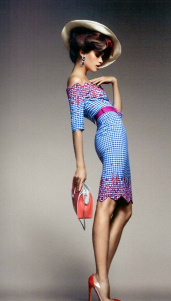 Sara Sampaio by Luis Monteiro for Vogue Portugal (February 2012);     Dress: Junko Shimada -   Hat: Hoss Intropia -   Bag: Louis Vuitton -   Shoes: Christian Louboutin 'Bis Un Bout' Red Suede & PVC Pumps