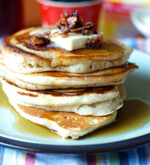 French Toast Pancakes. Lose the bacon (ok... eat it on the side) and just do the pancakes with REAL butter... they are amazing..
