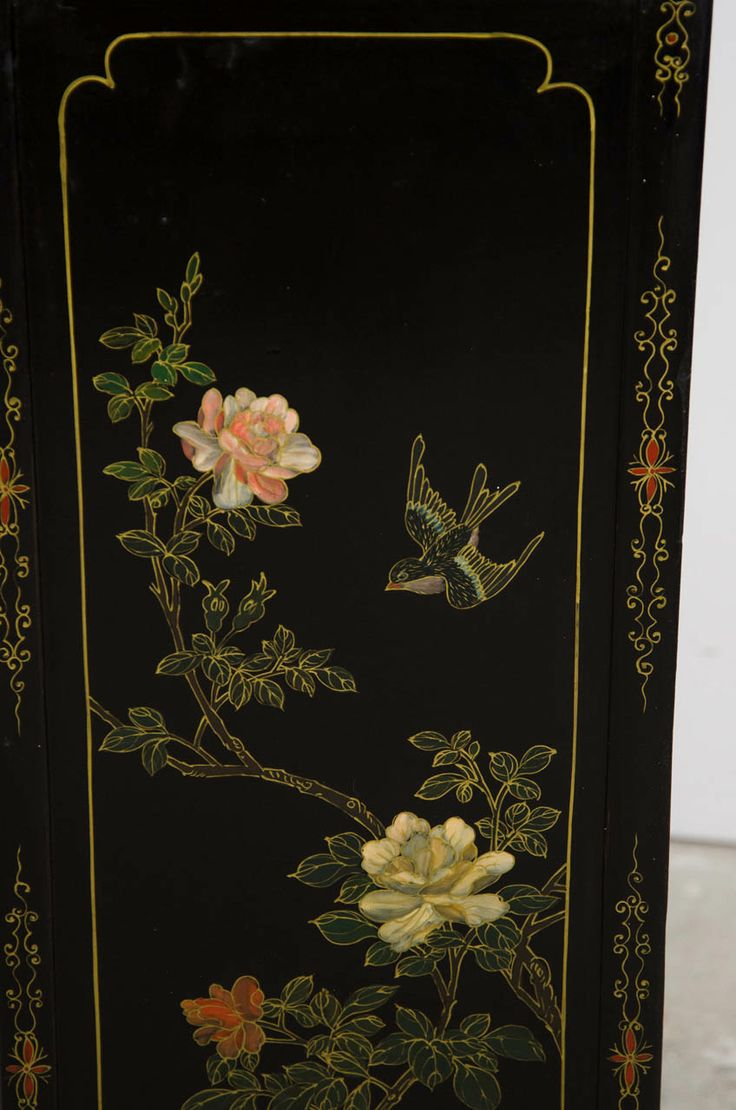 Japanese Black Lacquer Side Cabinet Antiques Modern