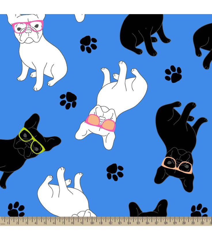 Anti Pill Fleece Fabric French Bulldogs Warm Fleece