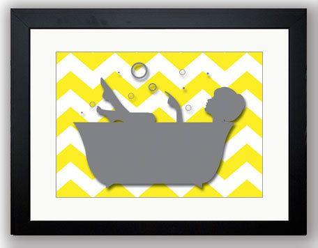 Bathroom Decor Bathroom Print Grey Girl Yellow In A