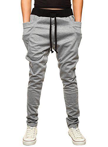 HEMOON Mens Jogging Pants Tracksuit Bottoms Training Running Trousers Grey M