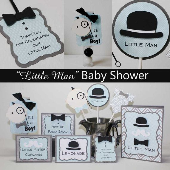 Little Man Food Labels Baby Shower or First by JillyBearDesigns