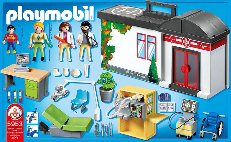playmobil 5953 jeu de construction h pital transportable jeux et jouets. Black Bedroom Furniture Sets. Home Design Ideas